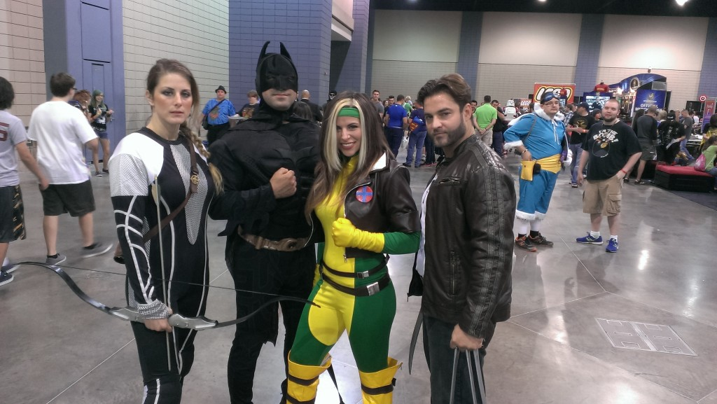 Katniss (?), Batman, Rogue, and Logan